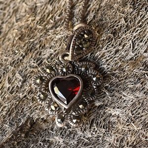 arquisette and Garnet heart necklace